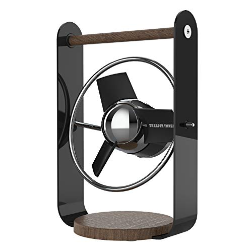 Sharper Image SBV1-SI USB Fan with Soft Blades, 2 Speeds, Touch Control, Quiet Operation, 5V Wall Adapter, 6 ft. Cable, Black
