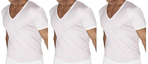 3 maglia corpo uomo GARDA mezza manica scollo a V 100% cotone pettinato BIANCO art.0026