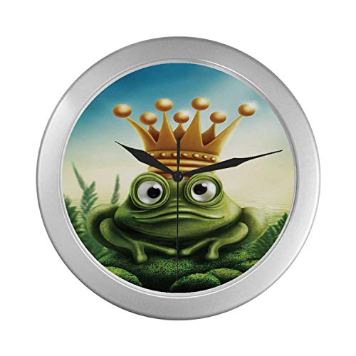(C COABALLA King Simple Silver Color Wall Clock,Frog Prince on Moss Stone with Crown Fairytale Inspired Cartoon Image for Home Office,9.65