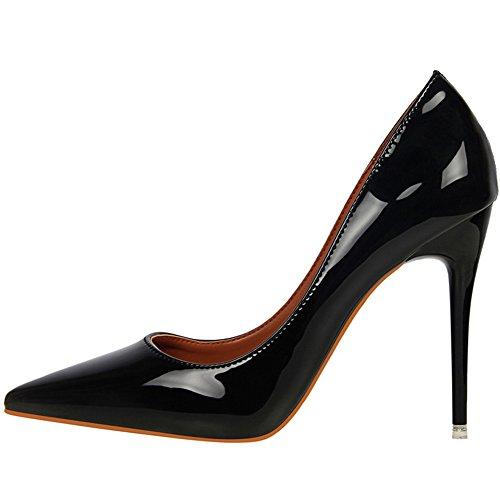 Matrimonio lavoro Donna Scarpe alti Scarpe Pelle Tacchi Nero con Di BIGTREE tacco Punta brevetto di Scarpe punta di con tacco AEzE7wqO