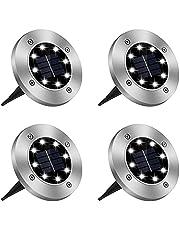 4pcs Solar Ground Light Outdoor,CESTLAVIE 8 LED Landscape Pathway Lights IP65 Waterproof Underground Solar Light for Garden, Dark Driveway, Pathway, Patio, Pool, Yard, Lawn, Square (4PCS)