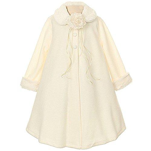 (Big Girls Gorgeous Ivory Fleece Faux Fur Collar Cuff Coat - Size)