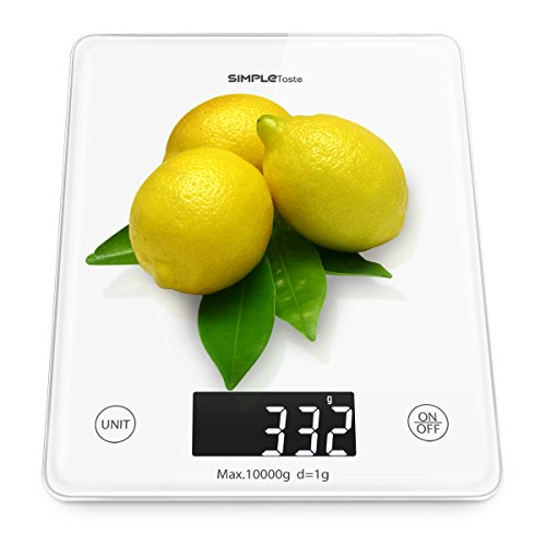 SimpleTaste Professional Touch Digital Kitchen Scale Electronic Home Scale with Weighing Range from 0.2oz (5g) to 22 lbs (10kg) , Elegant Tempered Glass, White
