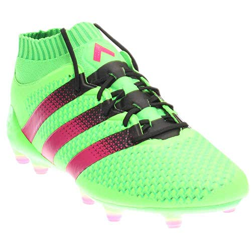newest d0f62 4adaf adidas ACE 16.1 Primeknit FG AG Soccer Cleats (Solar Green, Shock Pink)