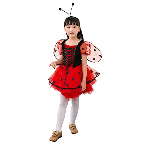 Amur Leopard Kids Halloween Party Costume Fairy Dress With Wings Red (Catholic School Boy Costume)