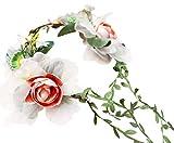 Vivivalue Boho Handmade Flower Wreath Headband Crown Halo Floral Hair Garland Headpiece with Ribbon Festival Wedding Party Pink
