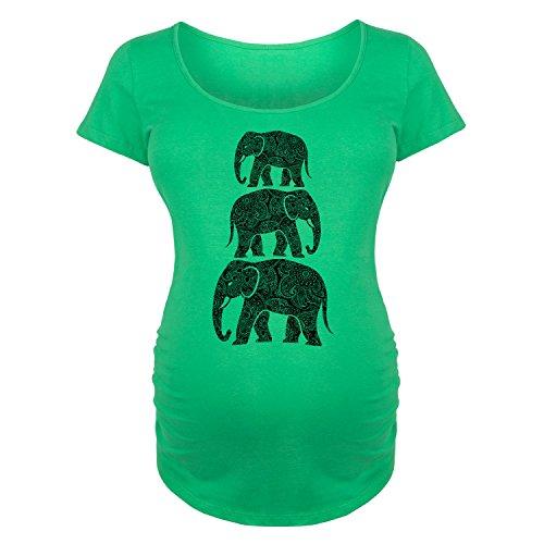 Bloom Maternity Elephants, Stacked Henna Pattern-Maternity Scoop Neck TEE-L by Bloom Maternity