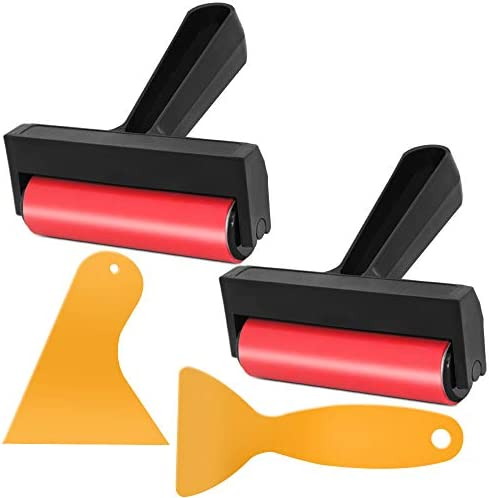 2 Pcs Diamond Painting Tool Roller with 2 Pcs Fixed Tool Scraper, AFUNTA Carved Surfaces or Stamping Tools for Fine Art Prints Ink Paint Embroidery Painting Wallpaper Crafts Art