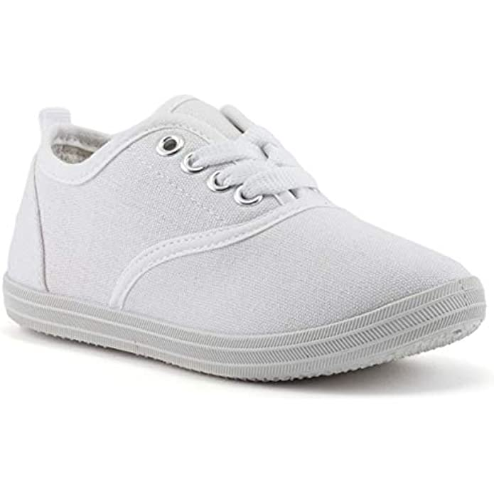 ZOOGS Girls Canvas Fashion Sneaker, Lace up, Breathable, Rubber Sole