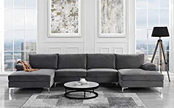 Modern Large Velvet Fabric U-Shape Sectional Sofa, Double ...