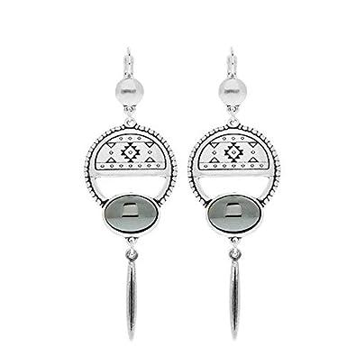 nouveau produit ca8b5 45804 Shabada Boucles d'oreilles créoles aztèque (argenté): Amazon ...