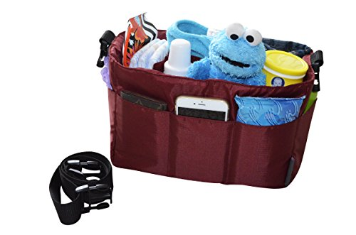 Diaper Bag Insert Organizer for Stylish Moms, Burgundy(More Color Options Available), 12 pockets, Turn Your Favorite Tote Bag into A Trendy Diaper Bag, by MommyDaddy&Me Burgundy Insert