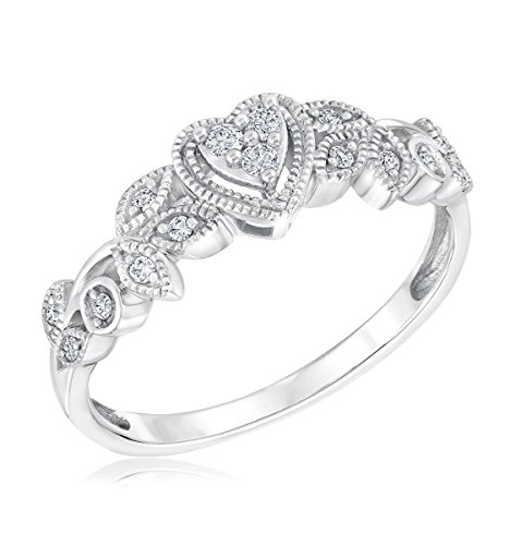 10K White Gold Heart Ring Vintage Style Promise Engagement Ring 1/10ctw Diamond Vines Style by Midwest Jewellery