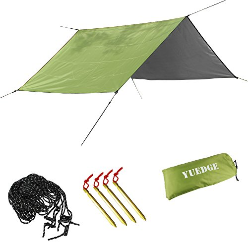 YUEDGE Portable Lightweight Waterproof Rain Tarp Rain Fly Tent Tarp Shelter Sunshade(M Army Green)