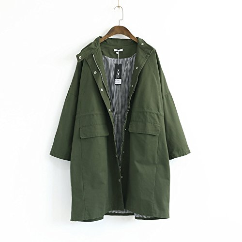 Color Women Green sleeve Windbreaker Long Solid Coat Collar Pocket DYF button Military IzwPdqI