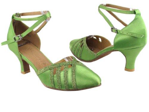 Chaussures Très Fines Dames Standard Et Lisse Salsera Série Sera3530 2.5 Talon (4 Couleurs, Noir, Vert, Rouge, Gris) Vert Satin Avec De La Poussière Détoile Verte