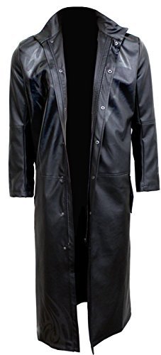 Spiral Mens - Wolf Chi - Gothic Trench Coat PU-Leather With Full Zip - M