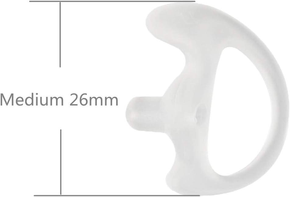 JEUYOEDE Replacement Soft Silicone Earmold Earbud Earplug for Motorola Kenwood Baofeng Acoustic Tube Earpiece Headset 2Pairs Medium 26mm