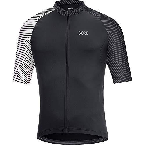 GORE Wear C5 Men's Cycling Short Sleeve Jersey, L, Black/White