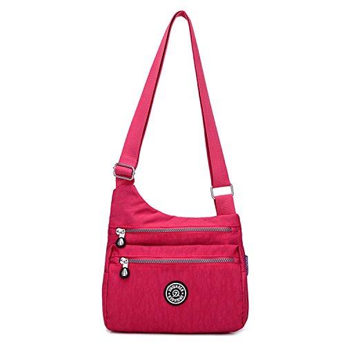 Outreo Bolsos de Impermeable Bolso Bandolera Mujer Moda Bolsas de Deporte Ligero Bolsos Casual Pequeña Bolsas de Viaje para Escuela Rojo 2