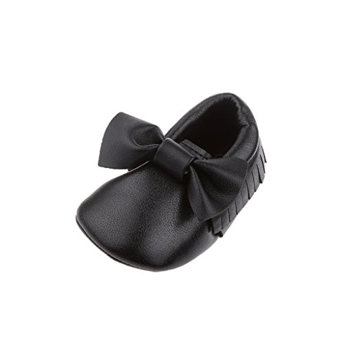 Zapatos Mocasín única Cuna Niño De Cuero Niños Bebé Del Bowknot - Negro, 12cm Negro