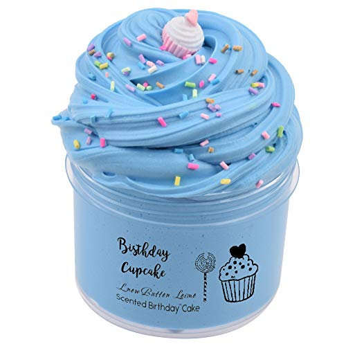 SLOUEASY Baby Blue Birthday Cake Fluffy Slime, Non-Sticky Jumbo Foam Slime Stress Relief Toy Scented Butter Slime DIY Fluffy Slime Sludge Toy for Girls and Boys(7 oz)