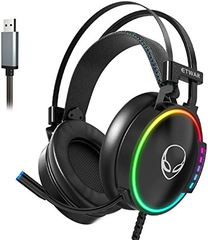 ETWAR PS4 USB Gaming Headset for PC- 7.1 Surround Sound Headphones with Mic- RGB Light Headset Compatible with PS4,PC,Laptop-Over Ear Gaming Headset-Strong bass Sound Gaming Headset
