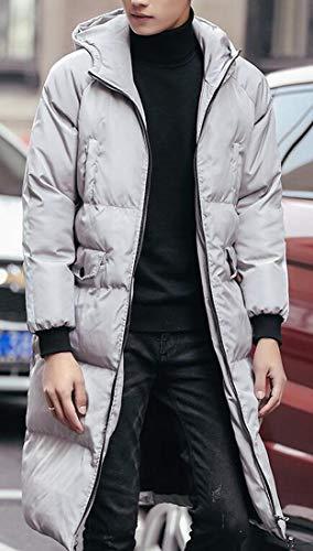 Chiaro Contrasto Inverno Zip Addensare Grigio Lunghezza Capispalla Cappuccio Mens Caldo Fronte Metà Trapuntato Mk988 Cappotto A 0zqpnXw61
