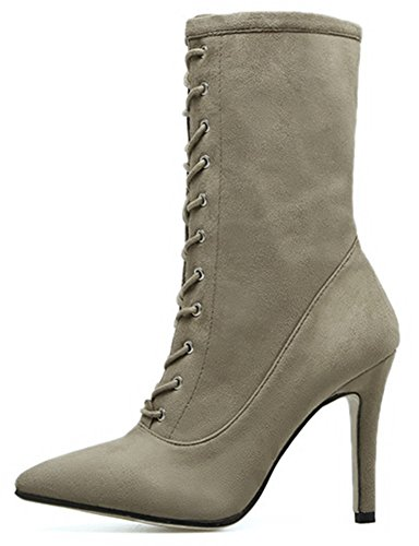 Easemax Women's Chic High Stiletto Heel Pointed Toe Zip Up Faux Suede Mid Calf Boots apricot yyavp