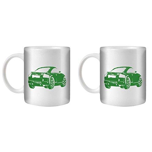 stuff4-tea-coffee-mug-cup-350ml-2-pack-green-audi-tt-v6-white-ceramic-st10