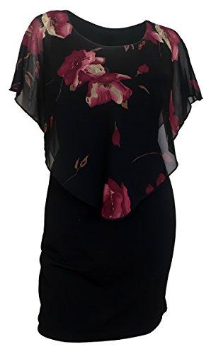 eVogues Plus Size Layered Poncho Dress Floral Print - 2X