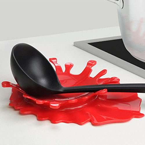 Flinelife 2 in 1 Spoon Utensil Holder Silicone Spoon Rest    (Large Image)