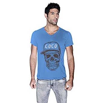 Creo Brown White Coco Skull T-Shirt For Men - Xl, Blue