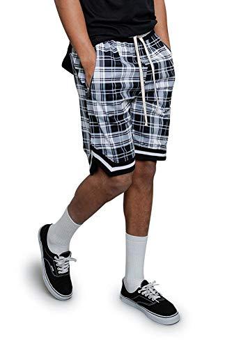 G Style USA Men's Plaid Fog Long Drawstring Striped Hem Athletic Shorts with Zippered Pockets JS23 - White - X-Large - A7C