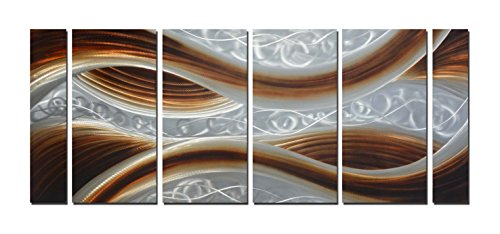 Large Abstract Metal Wall Art Handmade Aluminum Modern Contemporary Home Decor Painting (65''x24'') by Winpeak Art