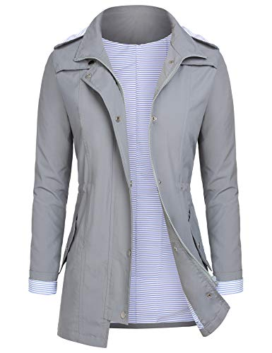 AUDIANO Rain Jackets Women Lightweight Raincoat Striped Lined Waterproof Windbreaker Active Outdoor Hooded Trench Coats Grey XL