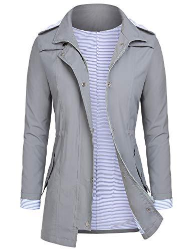AUDIANO Rain Jackets Women Lightweight Raincoat Striped Lined Waterproof Windbreaker Active Outdoor Hooded Trench Coats Grey S (Best Spring Jackets Womens)
