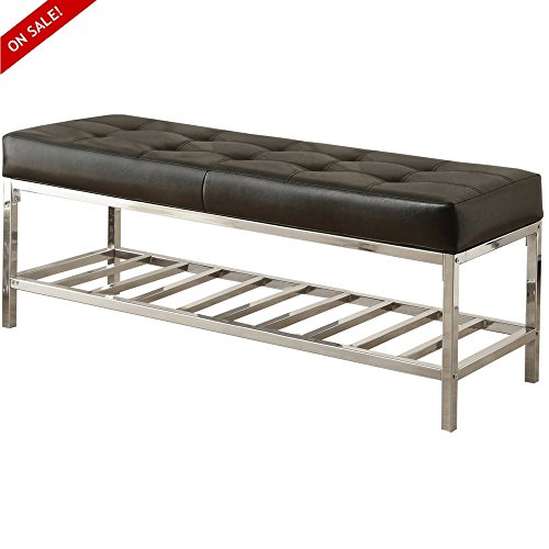 Modern Dining Bench Seat Backless Welcome Home Decorative Stylish Furniture Entryway Indoor Room Entry Foyer Padded Sitting Ottoman Bedroom Living Room Steel Black And eBook By (Decorative Steel Bench)