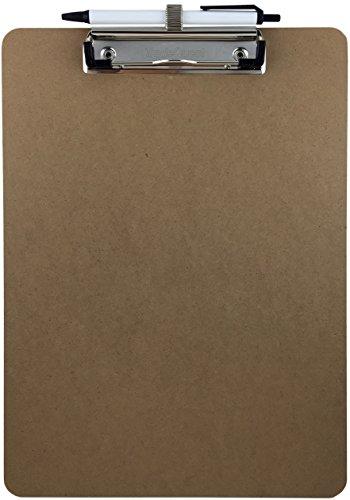 Trade Quest Pen Holder Clipboard, Letter Size, Low Profile Clip, Hardboard Single (Pen Included)