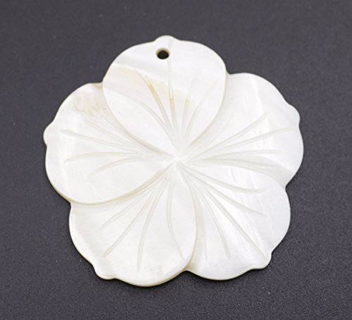 1pcs 45mm shell flower carved natural white mother of pearl top hole for pendant ()