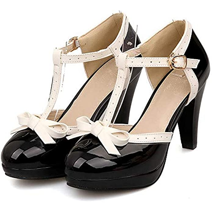 Robasiom Women's T Strap Bow Mary Janes Closed Round Toe Pump High Heel Vintage Sweet Shoes Dress Pumps