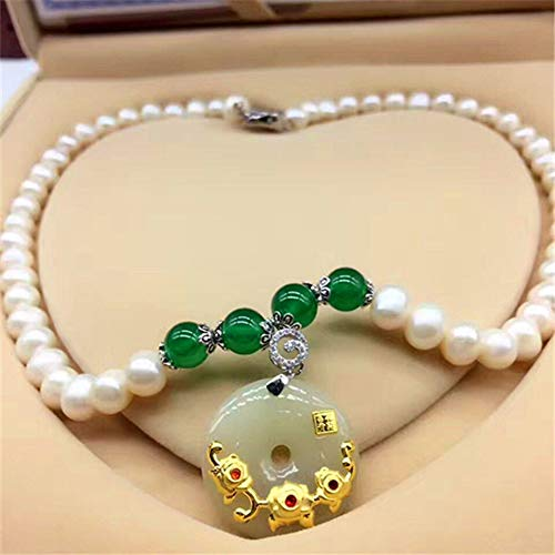 (WOkismx Natural Pearl Necklace Round Female Gold Inlay Hetian Jade Rich Flower Pendant Fashion Wild Clavicle Chain Gift Set)