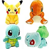 Plush toys Pikachu Bulbasaur Squirtle Charmander Soft Plush (4 Pieces)By Square Imports