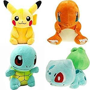 Plush toys Pikachu Bulbasaur Squirtle Charmander Soft Plush (4 Pieces)By Square Imports