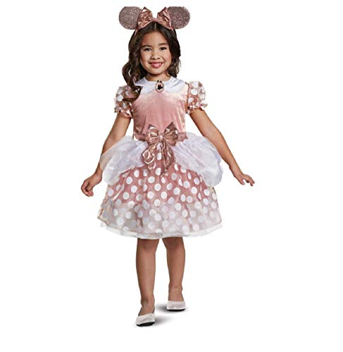 Toddler Girls Classic Minnie Mouse Halloween Costume Rose Gold 3T-4T