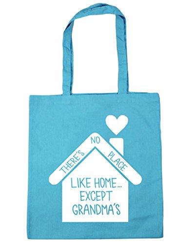 HippoWarehouse no hay lugar como en casa... de excepto la abuela bolsa de la compra bolsa de playa 42cm x38cm, 10litros azul (Surf Blue)