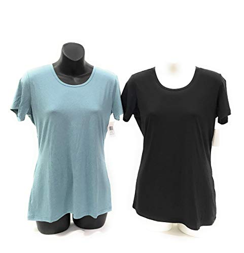 32 DEGREES Cool Women's 2pk Short Sleeve Scoop Neck (Black/Dust Teal) (XL) ()