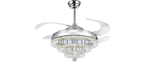 "42/"" Ceiling Fan Invisible Blades Crystal Chandelier Lamp Ceiling Light w// Remote"