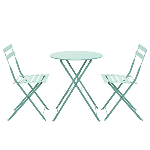 Grand patio 3-Set Patio Porch Dining Set,Outdoor Steel Round Table Chairs Set, Macaron Blue