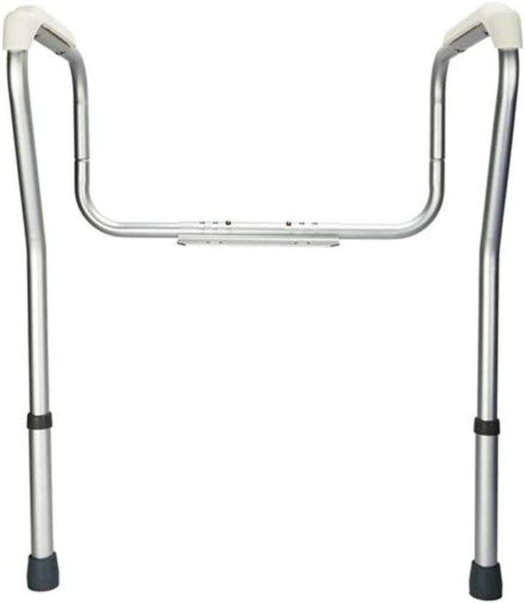Bathroom Toilet Rails Frame Aluminum Alloy Stand Alone Toilet Safety Grab Rail Adjustable Height Medical Handrail Assist with Capacity 330 lbs Toilet Seat Handrails for Elderly Handicap